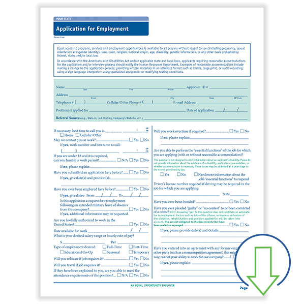 Downloadable State Compliant Job Application