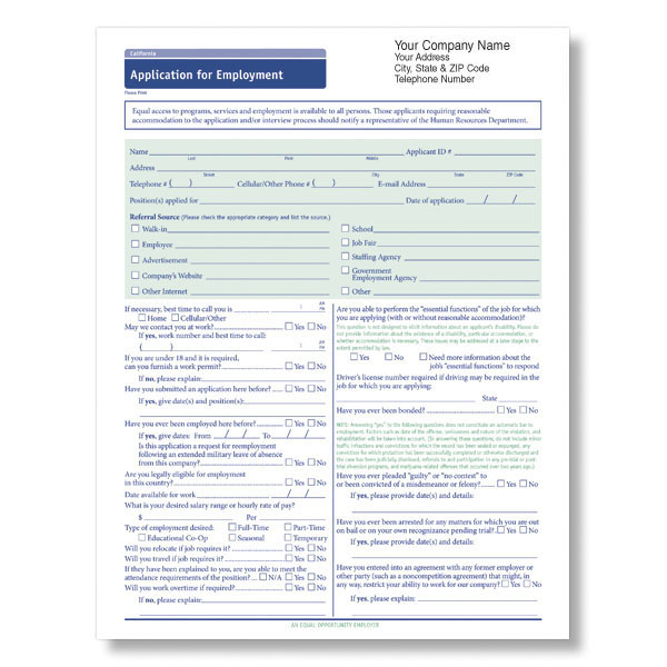 Picture of State-Compliant Job Application Imprinted