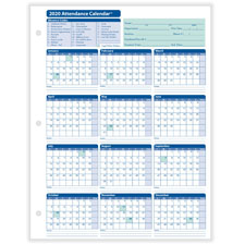 2020 Monthly Employee Attendance Calendar Sheet White