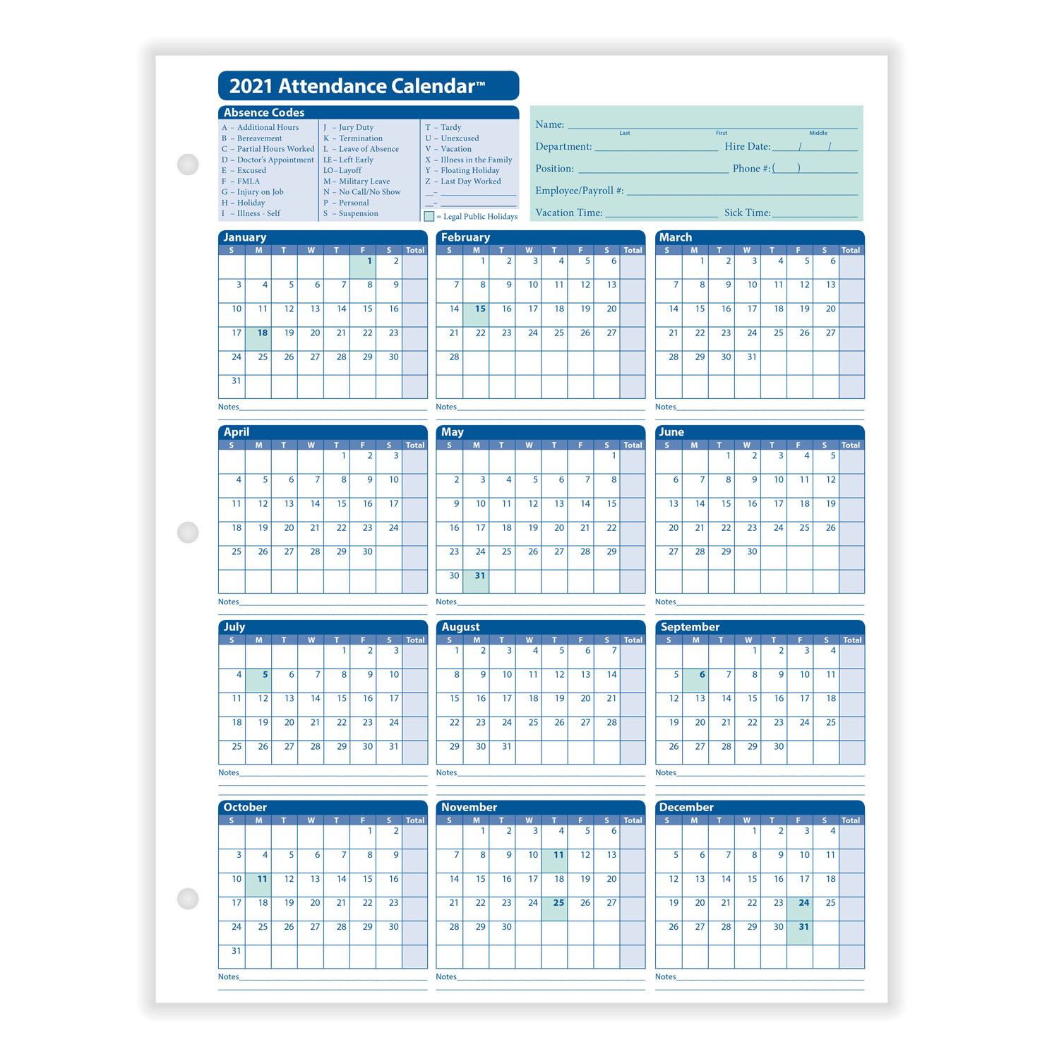 2021 Monthly Employee Attendance Calendar Sheet