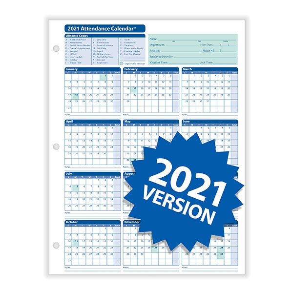 Yearly Employee Attendance Calendar | Yearly Calendar ...
