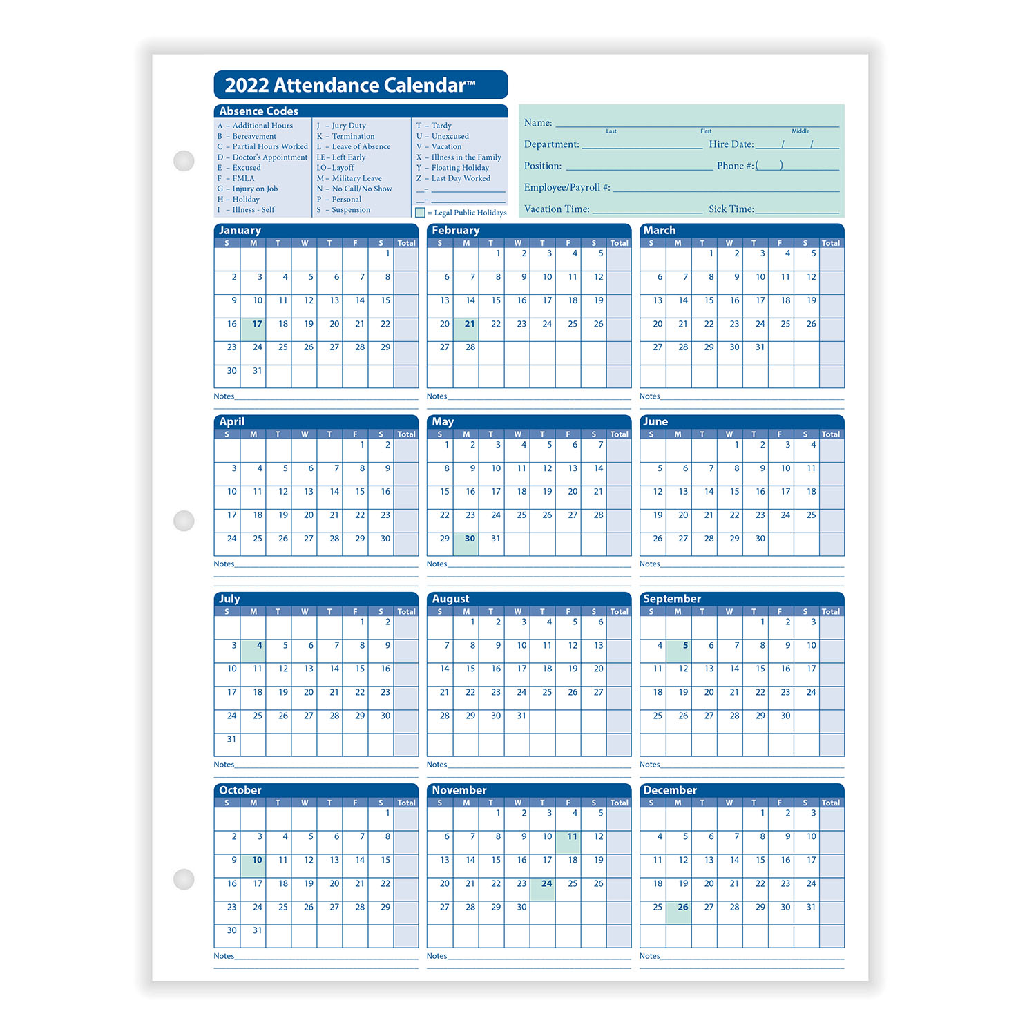 2022 Attendance Calendar Printable Free.Yearly Employee Attendance Calendar Yearly Calendar Hrdirect