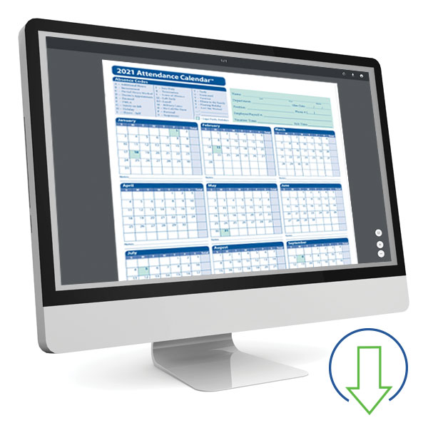 Downloadable Employee Attendance Calendar