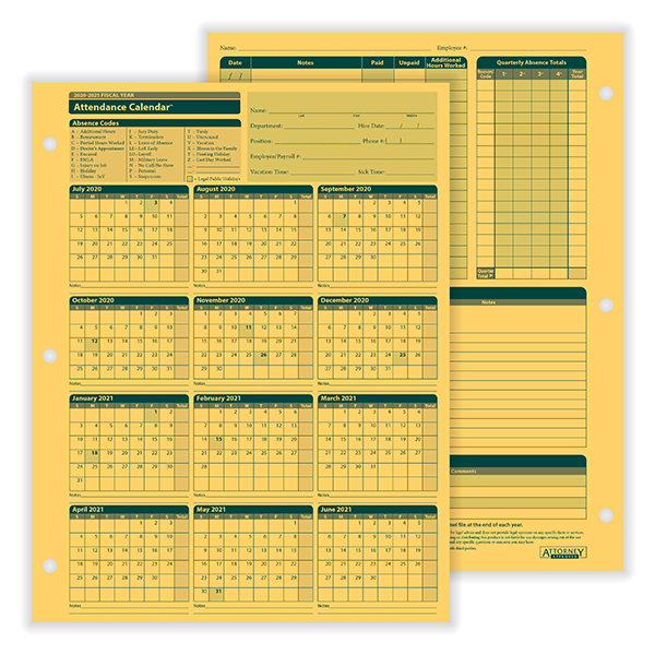 Fiscal Year Attendance Calendar | Yearly Attendance | HRdirect