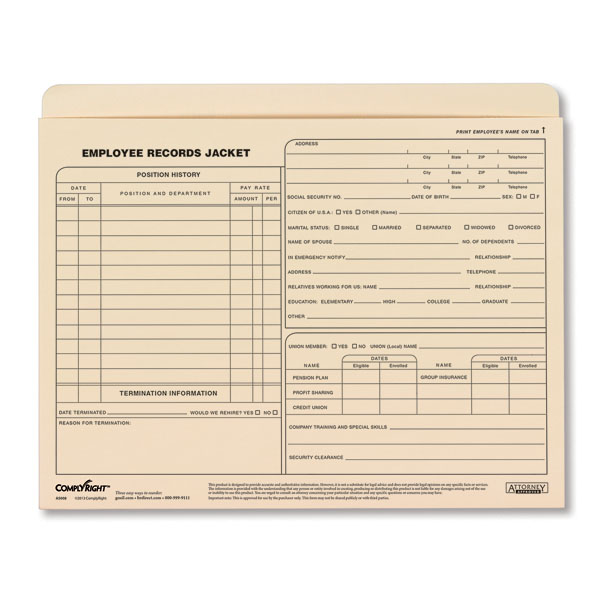 Employee Records Jackets - Expandable Letter Size