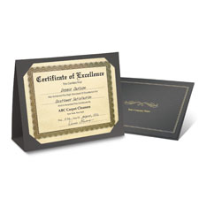Imprinted Award Certificate Folders Black