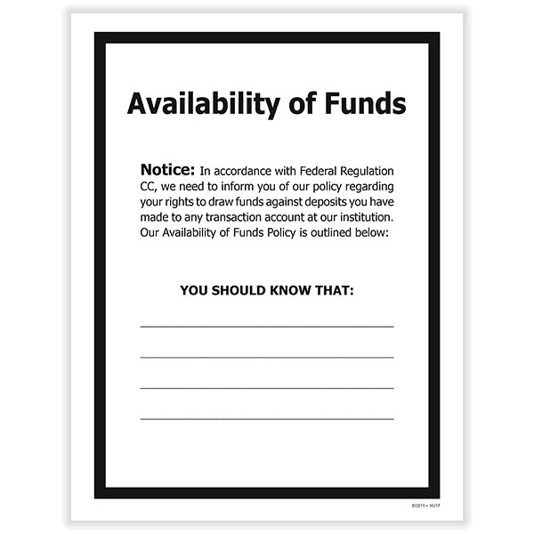 Picture of Availability of Funds Poster
