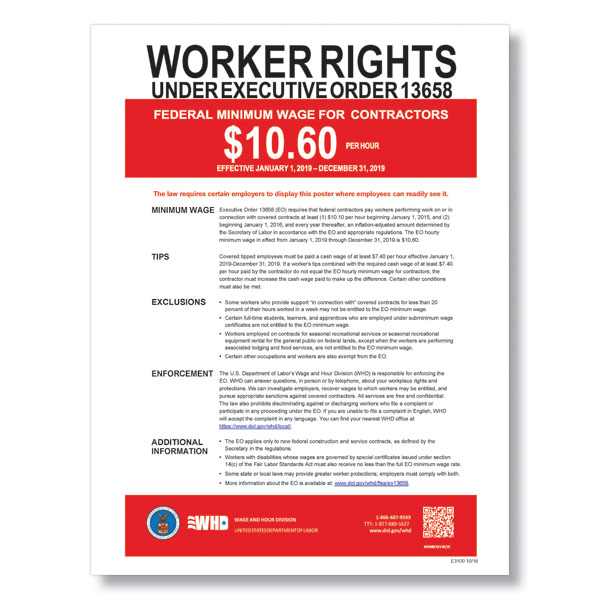 Federal Minimum Wage Poster for Contractors