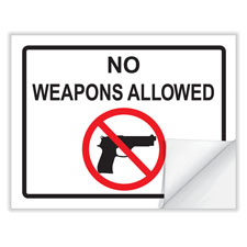 """No Weapons"" Window Cling"