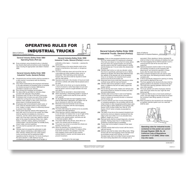Picture of California Operating Rules for Industrial Trucks Poster