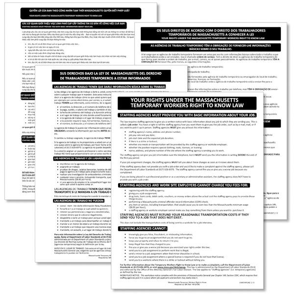 Picture of Massachusetts Temporary Workers Right to Know Law Poster