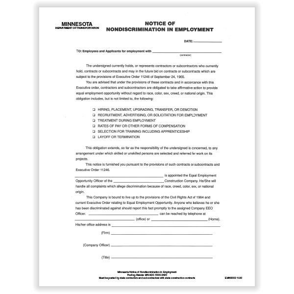 Picture of Minnesota Notice of Nondiscrimination in Employment Poster