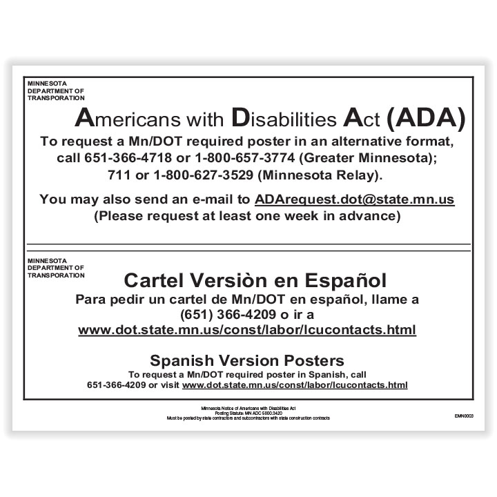 Picture of Minnesota Notice of Americans with Disabilities Act Poster