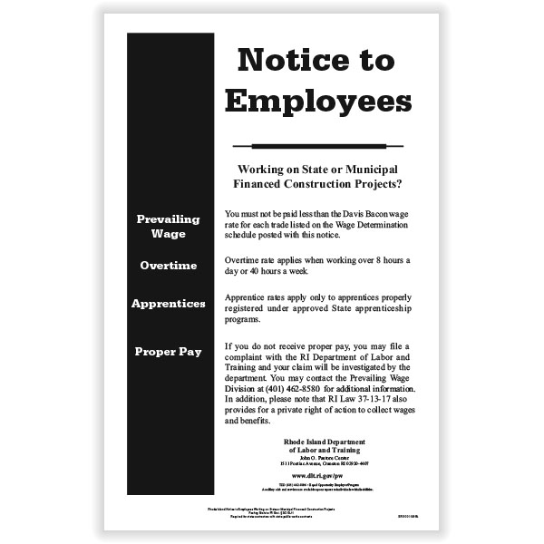 Picture of Rhode Island Notice to Employees State Contracts Poster