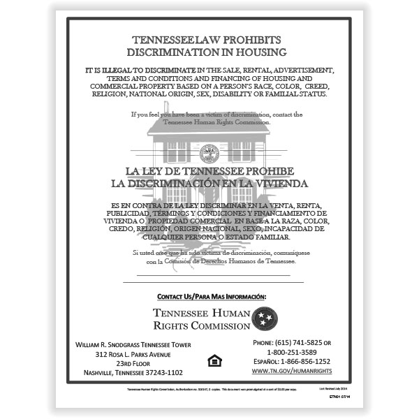 Picture of Tennessee Fair Housing Poster