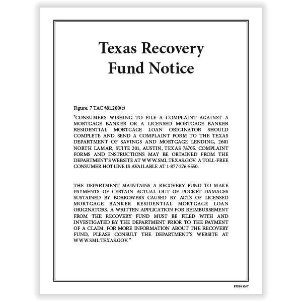 Picture of Texas Recovery Fund Notice Poster