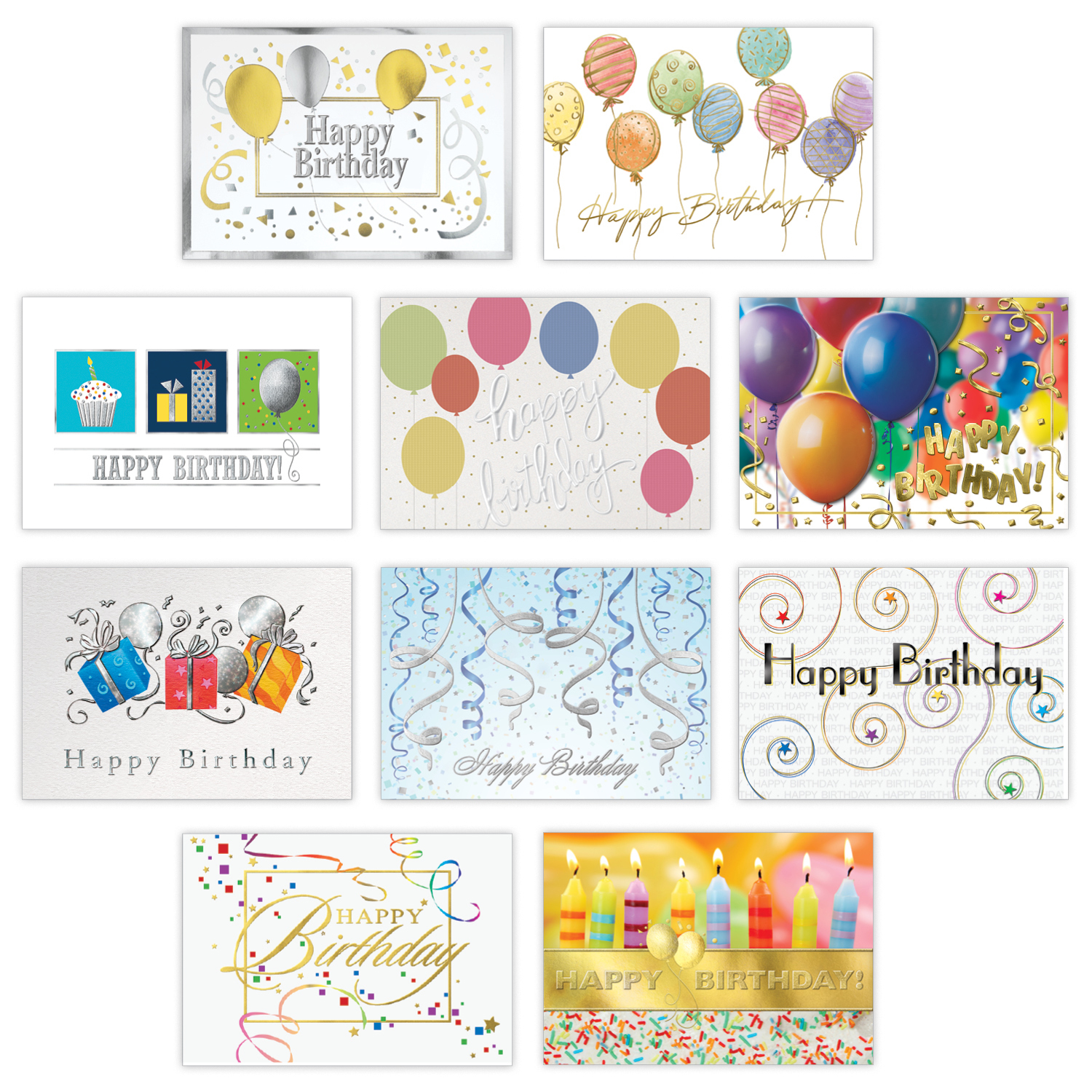 WPG Balloons and Streamers Birthday Card Assortment
