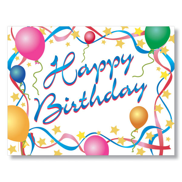 Happy Birthday Stars and Streamers Birthday Card