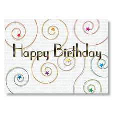 Starry Swirls Happy Birthday Card