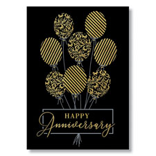Gold Anniversary Balloons Card