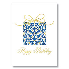 Picture of Navy and Gold Gift Birthday Card