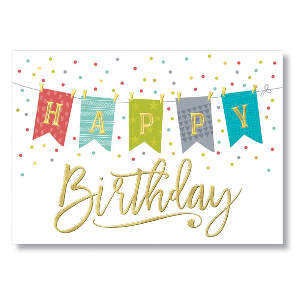 Picture of Patterned Flags Birthday Card