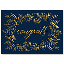 Gold Leaves Congrats Card