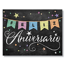 Chalkboard Anniversary Banner Spanish Card