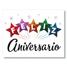 Happy in Stars Anniversary Spanish Card