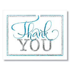 Teal and Silver Thank You Card