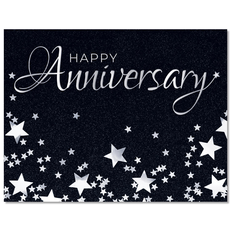 Silver Stars Anniversary Card