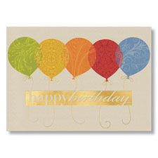 Brocade Pattern Balloons Birthday Card