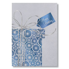 Silver Ribbon Birthday Card