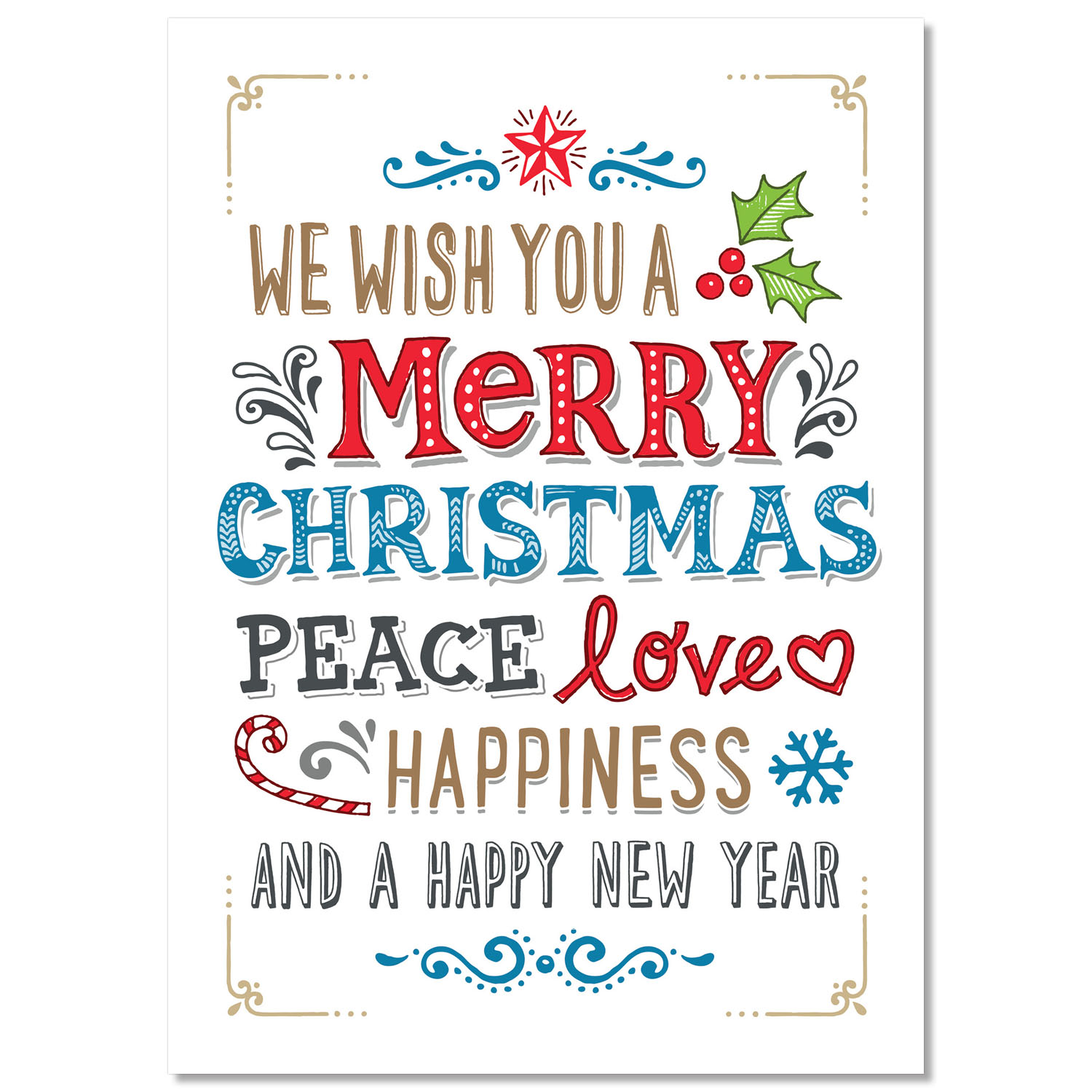Peace Love Happiness Holiday Card