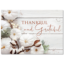 Rustic Thankful and Grateful Holiday Card