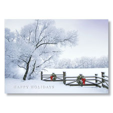 Picture of Rustic Wood Fence Holiday Card