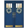 Blue Holiday Door Holiday Card