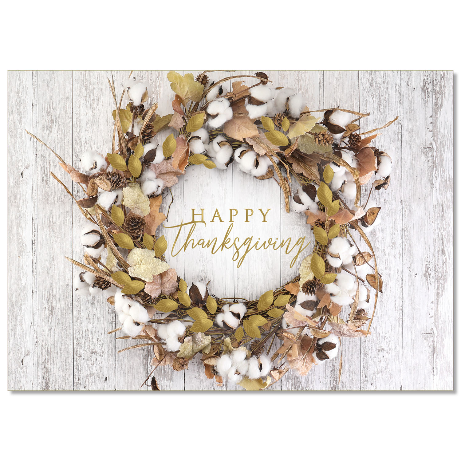 Rustic Thanksgiving Wreath Holiday Card