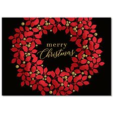 Red Leaf Christmas Wreath Holiday Card