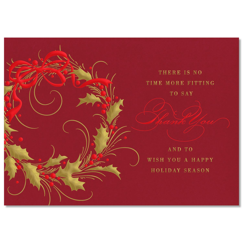 Gold Leaf Wreath Holiday Card