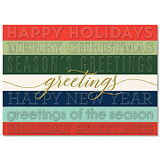 Embossed Holiday Greetings Holiday Card