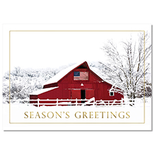 Winter Red Barn Holiday Card