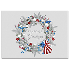 Patriotic Wreath Holiday Card