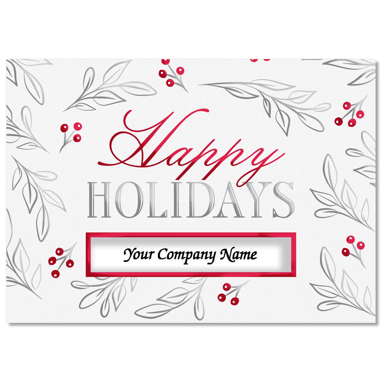 Leaves and Berries Die-Cut Holiday Card
