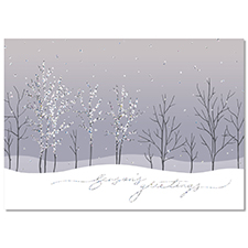 Sparkling Tree line Holiday Card