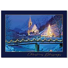 Winter Church Scene Holiday Card