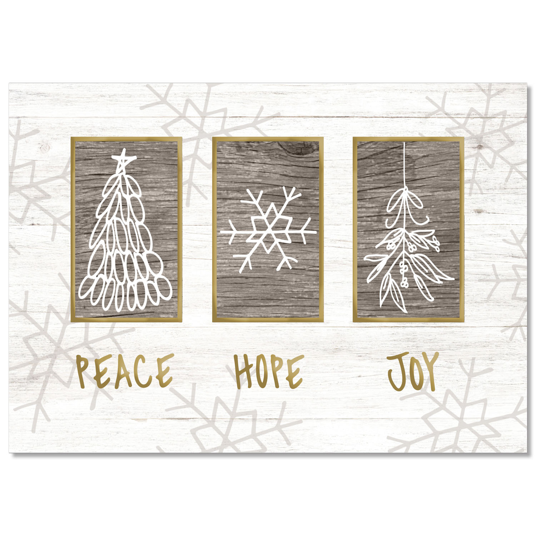 Farmhouse Peace Hope Joy Holiday Card