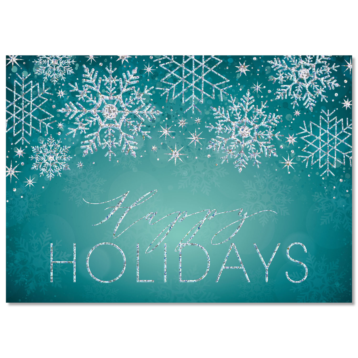 Holographic Snowflakes Holiday Card