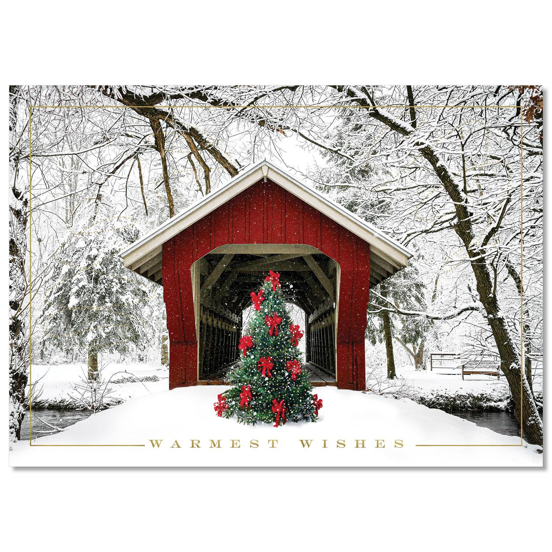 Red Bridge and Bows Holiday Card