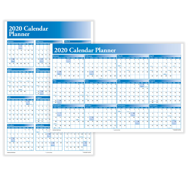 Wall Yearly Calendar Planner Blue Horizontal Vertical